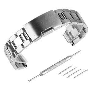 Beauty7 Bracelet du Montre Avec Outils 18mm – 28mm Bande du Montre Boucle Deployante en Acier 304 Remplacement Bande de Poignet Longueur 170 mm L'epaisseur 3.2 mm Argente Homme Femme