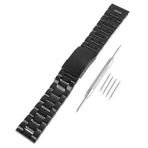 Beauty7 Kits de Bande Avec Outils Bracelet de Montre en Acier 14/16/18/20/22/24/26 mm Boucle Deployante Remplacement Bande de Poignet Epaisse de 3.5mm Noir