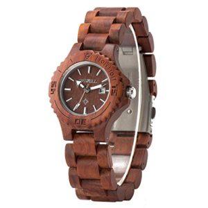 Bewell W020AL Montre bracelet en érable naturel fait à la main Écran analogique Léger Montre en bois pour femmes (Rouge)
