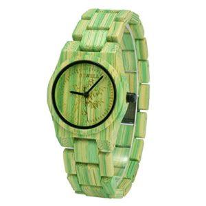BEWELL W105DL Montre Bracelet de Poignet Léger Eco Bambou Femmes vert Modulable Montre