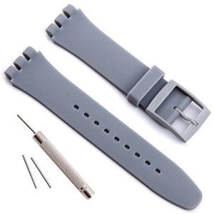 Bracelet de montre étanche en caoutchouc de silicone de remplacement pour Swatch (17mm 19mm 20mm) (19mm, Grey)