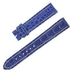 Breitling 18–16mm Bracelet en cuir véritable alligator bleu Mesdames