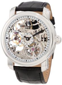 Charles-Hubert-Paris Homme 48mm Bracelet Cuir Noir Boitier Acier Inoxydable Mécanique Montre 3874