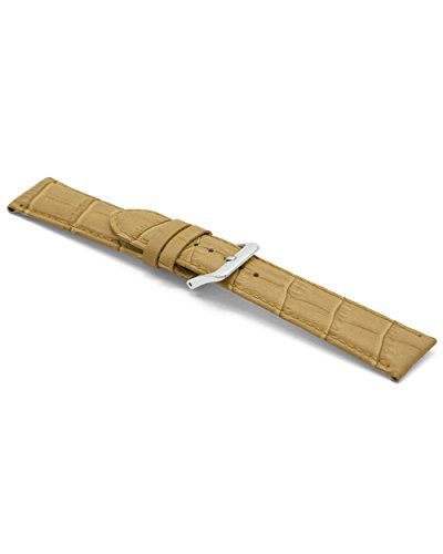 Claudio Calli f339z Beige Croco Bracelet de Montre en Cuir avec Boucle Ardillon en acier inoxydable 18mm