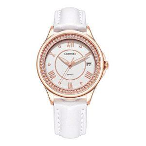 Comtex Femme Montres Ton or Rose avec Bracelet Cuir Blanc Mode Montres