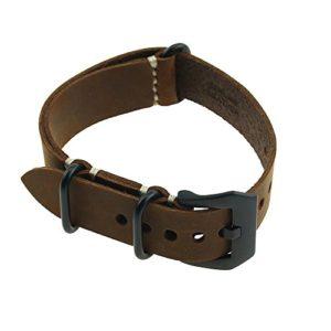 Cuir principal Crazy Horse Rugged Lara Main longue lignée Strap Replacement Bracelet Marron Noir Fermoir 22MM