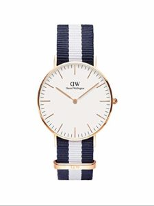 Daniel Wellington – 0503DW – Glasgow – Montre Mixte – Quartz Analogique – Cadran Rose – Bracelet Nylon Multicolore
