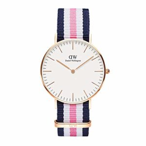 Daniel Wellington – 0506DW – Southampton – Montre Mixte – Quartz Analogique – Cadran Rose – Bracelet Nylon Multicolore