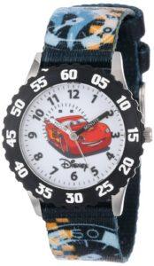 Disney Kids' W000371 Cars Acier Inoxydable Time Teacher Noir Couronne Printed Montre Bracelet