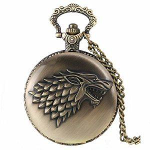 Game of Thrones Maison Stark Crest Antique Bronze brossé Effet rétro/Vintage Hommes Montre de poche à quartz–Collier sur Chaîne 81,3cm cm/80cm