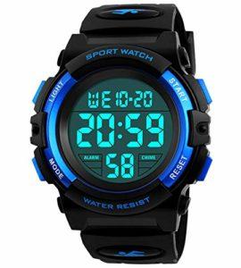 garçons Digital, montres enfants Sports 5ATM montre étanche avec alarme/Timer/EL lumière, Bleu pour enfant extérieur montre numérique pour adolescents garçons par Bhgwr