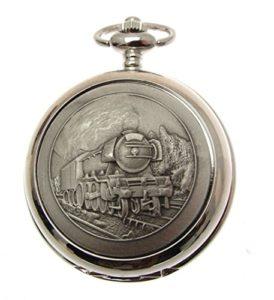 Gravure inclus–Montre de poche–Avant en étain massif mécanique squelette montre de poche–Flying Scotsman design 58