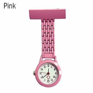 Gu3Je Mode Infirmière Quartz Poche Broche Broche Clip infirmière Montre de Poche Montre Broche (Color : Pink)