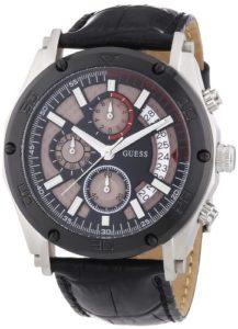 Guess – W16570G1 – Vortex – Montre Homme – Quartz Analogique – Cadran Noir – Bracelet Cuir Noir