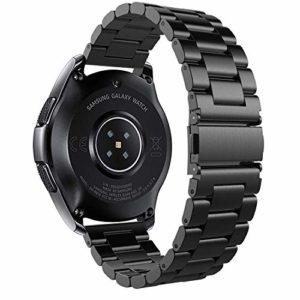 Huawei Watch 2 Bracelet de Montre, iBazal Huawei Watch 2 Acier Inoxydable Watch Band Smartwatch Bracelet de Remplacement Bracelet de Montre 20mm Ceintures de Montre avec Boucle de Papillon pour Huawei Watch 2 Smart Watch [Style Classique] – Mode Noir
