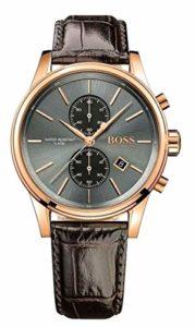 Hugo Boss bracelet de montre HB-275-1-34-2847-HB1513281 Cuir croco Noir + coutures noires (SEULEMENT LE BRACELET DE MONTRE – MONTRE NON INCLUE!)