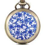 Infinite U Montre de poche mécanique avec photo cadran blanc chiffre romains en alliage la fleur bleue et le fond blanc deux chaînes pour femme fille