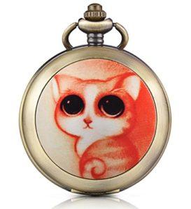 Infinite U Montre de poche mécanique avec photo cadran noir chiffre romains en alliage le chat aimable avec les yeux en amande deux chaînes pour femme fille