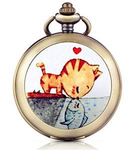Infinite U Montre de poche mécanique avec photo cadran noir chiffre romains en alliage le chat embrasse le poisson deux chaînes pour femme homme
