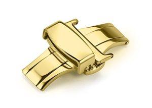 iStrap 20mm en métal inoxydable Papillon déploiement Boucle double Push Bracelet Fermoir–Doré