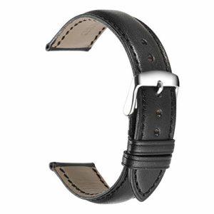 istrap 20mm noir Montre en cuir de veau véritable sangle rembourrée de montre argent boucle Super Doux
