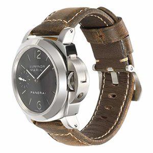 iStrap Bracelet de Montre 20mm 22mm 24mm 26mm Cuir Vintage Montre Militaire Bracelet de Remplacement pour PANERAI LUMINOR 44 Hommes – Marron