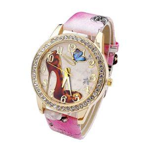 JSDDE Fashion Girl Bling Montre Femmes Strass Motif Chaussures à Talons Hauts Papillon Vogue Rétro Bracelet Cuir Wristwatch Rose
