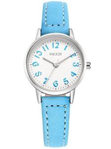 KEZZI – Montre Fille Ados à Quartz Cadran Ronde Bracelet en Cuir PU – Montre Etanche à L'eau 30 M simple Vintage Bleu Clair