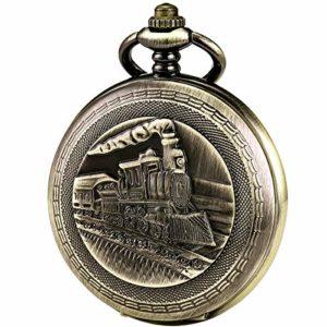 ManChDa montre de poche 3D Train à vapeur Chemin de fer Étui en bronze Cru Automatique Mécanique Chaîne + Boîte-cadeau
