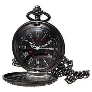 Montre de poche – TOOGOO(R)retro Steampunk Noir romain numeraux Collier Quartz Pendentif Montre de poche Cadeau