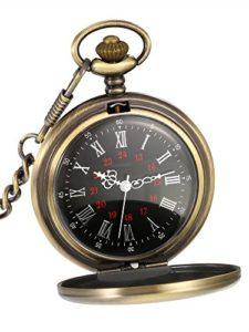 Montre de Poche à Quartz Antique Pocket Watch avec Chaîne en Acier (Bronze)