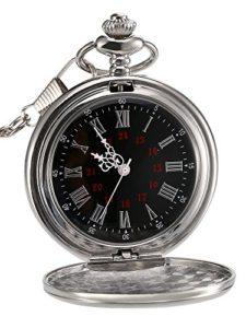 Montre de Poche à Quartz Antique Pocket Watch avec Chaîne en Acier (d'Argent)