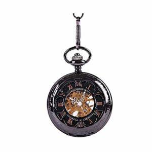Montre de Poche en Bronze Montre mécanique Roman mécanique Poche Pocket Numerals Black Watch Quartz Montre de Poche