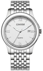 Montre Femme – Cadran Blanc– chiffres romains-Date Calendrier Bracelet en acier inoxydable
