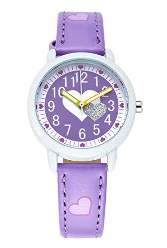 Montre Fille à Quartz Analogique – Montre Bracelet Cuir Cadeau Idéal – Violet