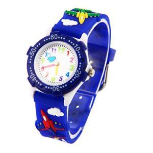Montre Garçon Pédagogique Enfant avec 3D Bracelet en Caoutchouc Motif Quartz Cadran Blanc – Bleu foncé Avion