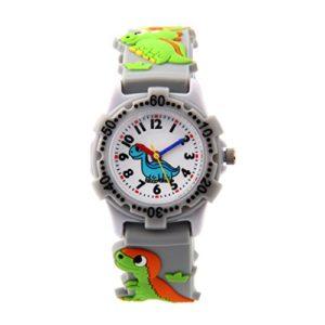 Montre Garçon Pédagogique pour Apprendre à l'heure avec Bracelet 3D en Caoutchouc Quartz Cadran Blanc Cadeau – Gris Dinosaure