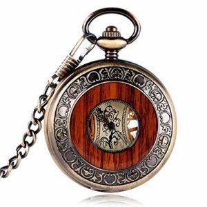Montre gousset, montre de poche mécanique vintage en bois, chiffres romains, gravures fleurs et cadran de luxe en bois, montres, pendentif, chaîne