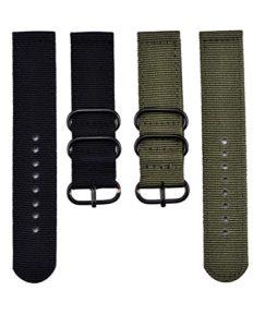 Mudder 2 pièces 22 mm Bracelet de Montre en Nylon, Vert d'armée et Noir