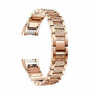 NICERIO Compatible avec Fitbit Charge 2 Bande – Bracelet de Remplacement en Acier Inoxydable pour Hommes et Femmes – Or Rose