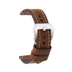 omyzam Bracelet de Montre Bracelet de Remplacement En Cuir Véritable Vintage Grande Boucle En Acier Inoxydable Adapté Pour Montre Traditionnelle, Montre de Sport ou Smartwatch 18mm Marron