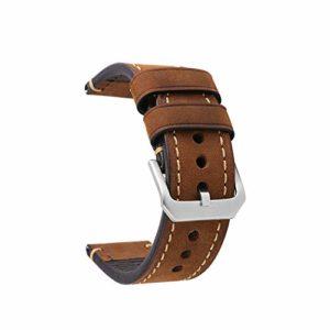 omyzam® Bracelet Montre Cuir Montre Petite Boucle en acier inoxydable Marron Sangle 22mm