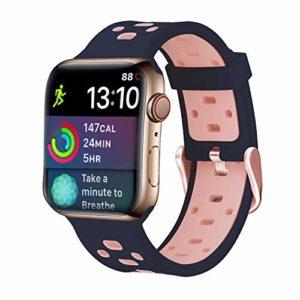Pour Apple Watch Series 3 Bracelet, iBazal Apple Watch Band 38mm Silicone Rechange Sport pour 38mm Apple Watch Série 3, Série 2, Série 1 – Silicone – Bleu / Rose 38mm