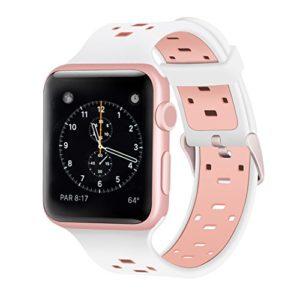 Pour Apple Watch Series 3 Bracelet, iBazalApple Watch Band 38mm Silicone Rechange Sport pour 38mm Apple Watch Série 3, Série 2, Série 1 – Silicone – Rose / Blanc 38mm