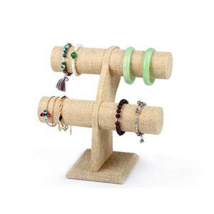 Santfe à 2étages Beige en lin en T Bracelet montre Bijoux support présentoir support