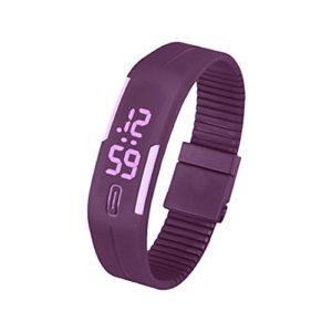 Silicone Montre – SODIAL(R)Sports Caoutchouc Silicone Blanc LED Montre Digitale Bracelet Homme Femmes Violet