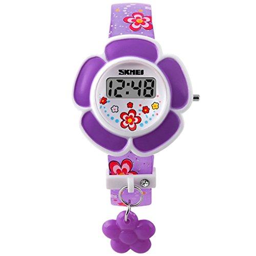 SKMEI – Enfant Fille Montre digital à LED – Montre en forme de fleur mignonne pour enfant – Montre bracelet – Violet