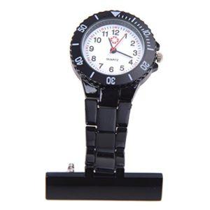 SODIAL(R) Noir Mouvement a Quartz montre a Infirmiere Broche montre de gousset Pendentif montre de Poche