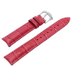 SODIAL(R) Sangle Bracelet en cuir Couleur Fuchsine Remplacement pour Montre Mode 18mm