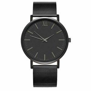 Souarts Homme Montre Bracelet Quartz Analog Cadran Rond Business Sangle en Maille Acier Noir 24cm